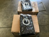 Two boxes of woolen grey blankets