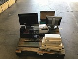 Pallet of artic Lansing speakers with hp monitor two keyboards Toshiba dynadock U3.0 dell monitor el