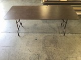 Six assorted folding tables