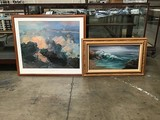 Ocean oil painting with mountain scenery painting