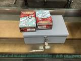 Two tournament domino sets, money box