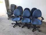 Seven assorted office chairs