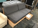 Bed with bottom drawers with five lounge pillows