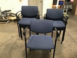 Eight blue lobby chairs
