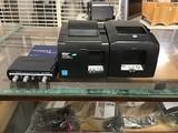 Two star tsp100 futureprint ticket printers Netgear ethernet hub, M- audio mic recording interface