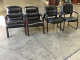 4 black office lobby chairs
