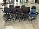 Eleven assorted office chairs