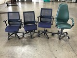 Four assorted office chairs