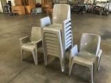 Ten grey outside table chairs
