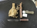 "8"" USMC knife in brown sheath with Fulton flashlight and carrying case"