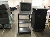 Sylvania tv with black tv cart