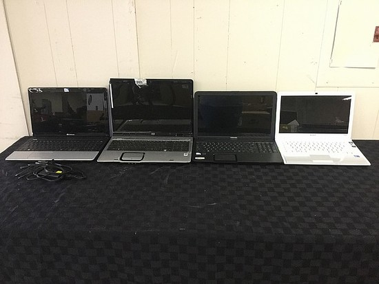 4 laptops GATEWAY, HP, TOSHIBA, SONY possibly locked, no charger Hard drive possibly remove, some da