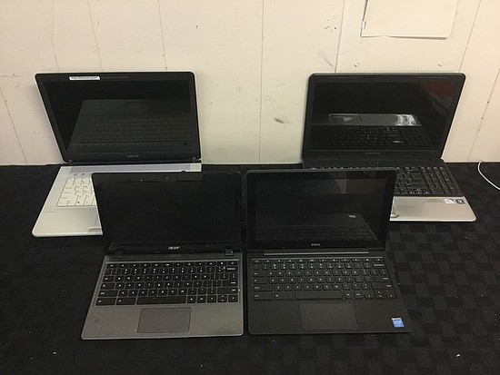 4 laptops DELL, ACER, COMPAQ, SONY Possibly locked, no charger, pd seized, hard drive possibly remov