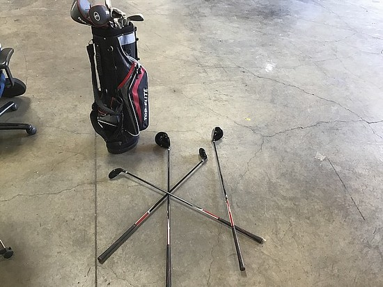 Top Flite golf clubs with bag
