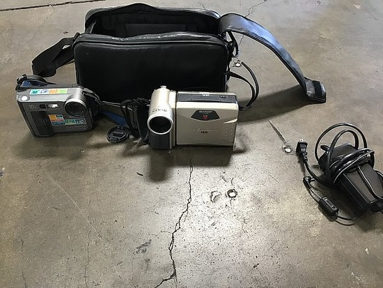 Bag with Sony digital camera with viewcam video recorder