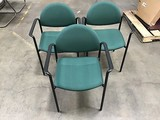 Three greenlobby chairs