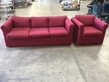 Burgundy three seat couch with single seat couch