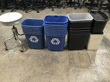 Fifteen blue recycle trash cans with eight trash cans With stool