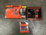 3 Black n Decker tool sets: drill, driver, drilling/screwdriver set (Box not included)
