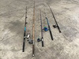 Five fishing poles