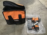 Rigid brand nailer in black and orange case