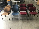 Thirteen assorted lobby chairs