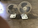 Two white mini fans