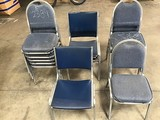 Thirteen assorted blue lobby chairs