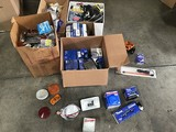 Car lights, wires, adaptors, box of chasis parts