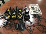 Three sets of two walki-talkies each, single walki-talkie Motorola ear piece