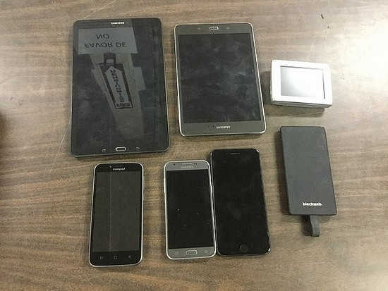 Tablets, power bank, cellphones, gps Possibly locked, no chargers