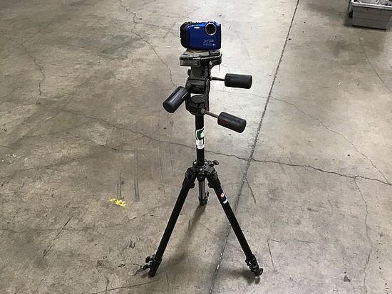 Blue fujifilm xp digital camera, black tripod