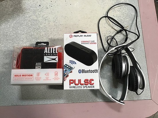 Head phones, pulse wireless speaker, Altec Lansing solo motion Bluetooth speaker