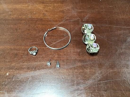 Silver hoop earring, silver bracelet, ring, White metal earrings with clear stone