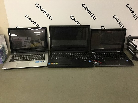 3 laptops Samsung, Lenovo possibly locked Hard drive possibly remove, no chargers