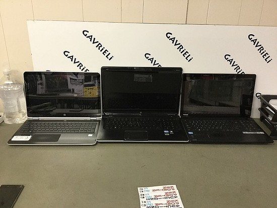 3 laptops HP, TOSHIBA Possibly locked No chargers, HARD DRIVE POSSIBLY REMOVE