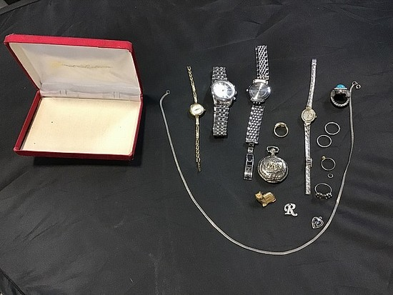 Four watches with misc costume jewelry