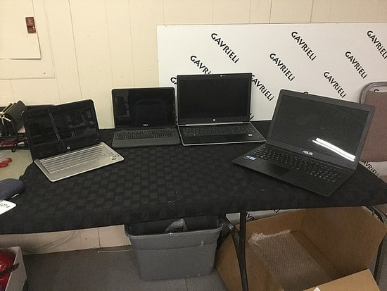 4 laptops HP, DELL, ASUS, POSSIBLY LOCKED No chargers