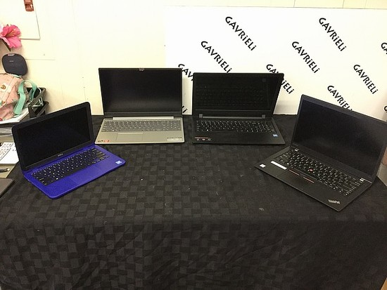 4 laptops, Dell, Lenovo,thinkpad Possibly locked, no chargers, some scratches