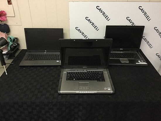 3 laptops,HP, DELL, possibly locked, no Chargers