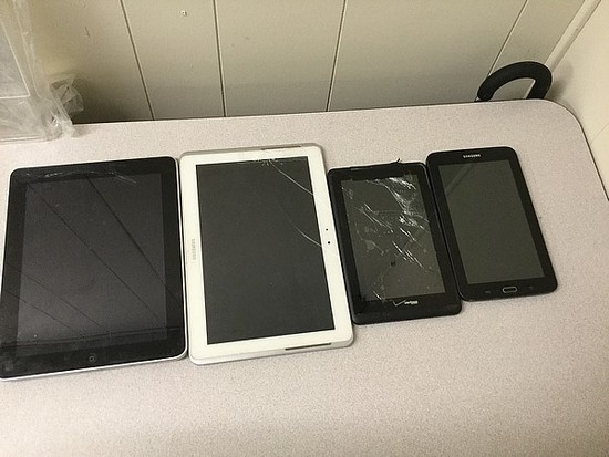 iPad A1219, Samsung Possibly locked, no chargers, some damage