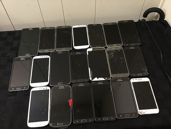 Samsung cellphones, possibly locked, no chargers, some damage, cellphones