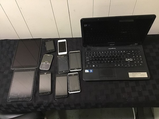 Laptop, cellphones, tablets Possibly locked, no chargers, some damage