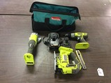 Angle Grinder P4221, JIG SAW P5231, drill P271, tool bag With charger and one battery