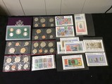 Coin collection, stamp collection