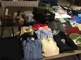 Backpacks, clothing, shoes, toys, tennis racket Headphones, hats,