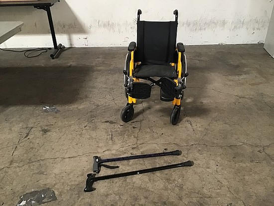 Kids wheel chair ,  2 canes