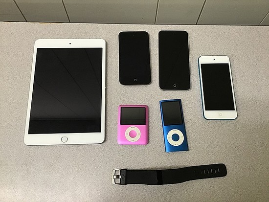 Fitness tracker, MP3 players, tablets possibly Locked no chargers iPod A1367 A1236 A1509 A1285 A1421