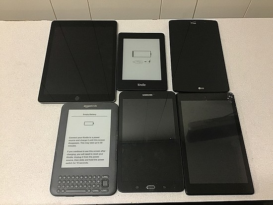 Tablets possibly locked no chargers iPad A1893, amazon kindle, LG, SAMSUNG
