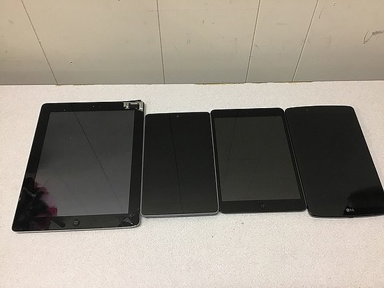 Tablets, possibly locked, no chargers, some damage iPad A1397 A1455, LG, ASUS